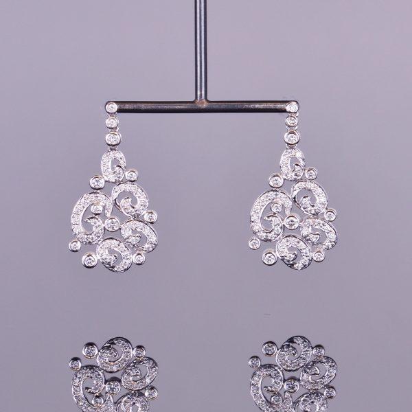 Diamond Spiral Chandelier Earrings 1