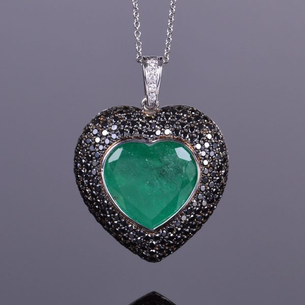 Emerald Heart and Black Diamond Pendant 1