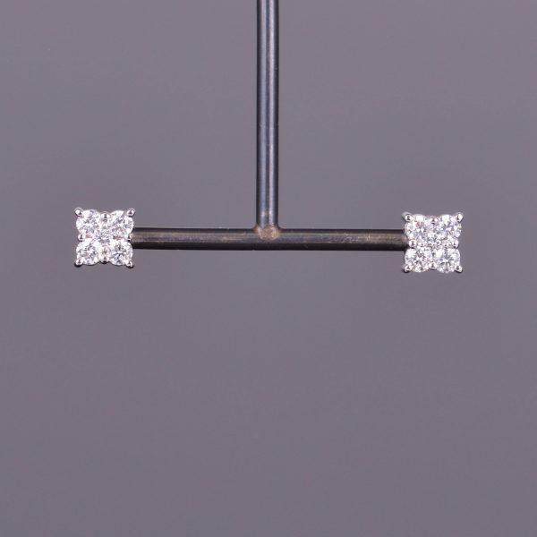 Diamond Cluster Square Stud Earrings 1