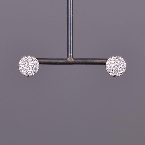Diamond Cluster Round Stud Earrings 1