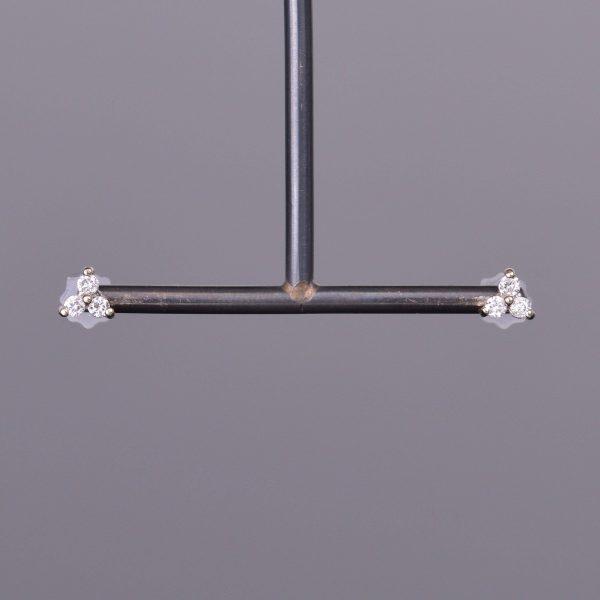 LXV Petite Diamond Clover Earrings in White Gold 1