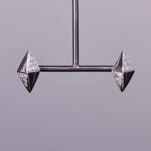 Diamond Shaped Diamond Stud Earrings 1