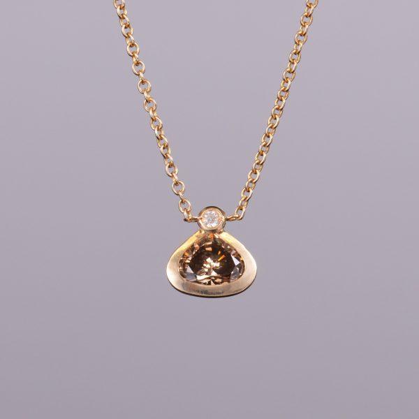 Cognac Diamond Pendant with White Diamond Chain 1