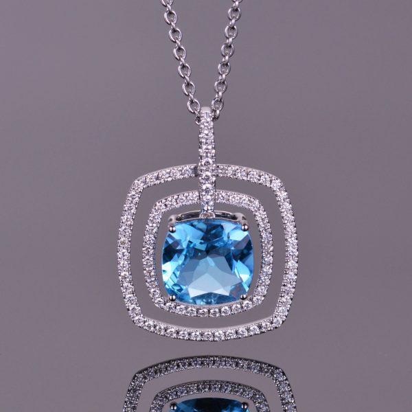 Blue Topaz and White Diamond Double Halo Pendant 1