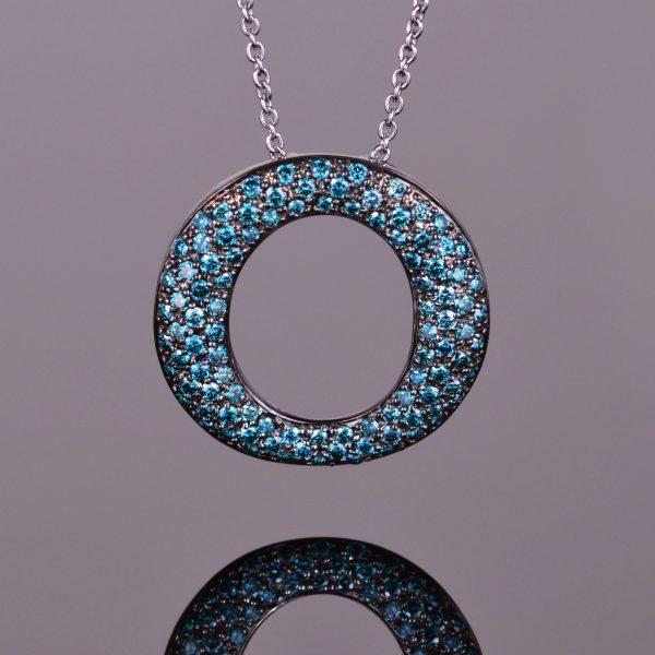 Blue Diamond and Black Rhodium Perpetual Light Pendant 1