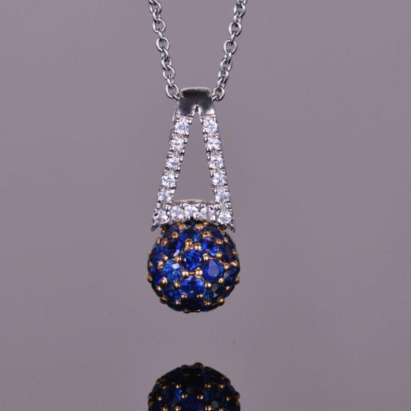 Blue Sapphire Sphere Pendant 1