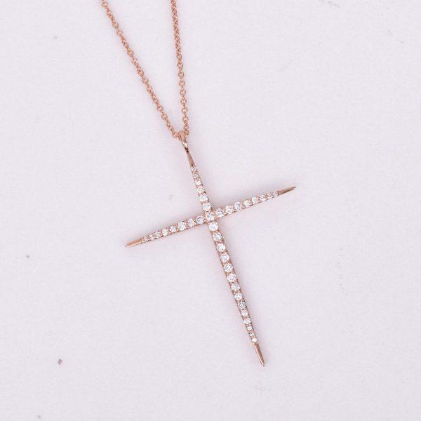 Diamond Cross Pendant in Rose Gold 1