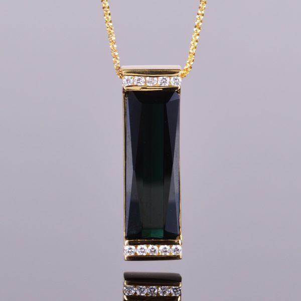 Elongated Green Tourmaline and Diamond Pendant 1