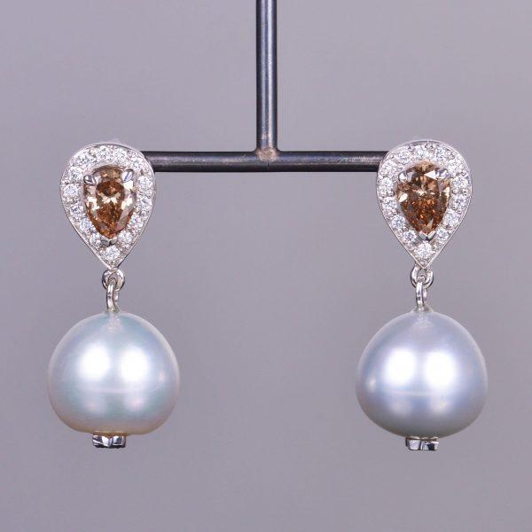 Pearl and Pear Diamond Dangle Earrings 1